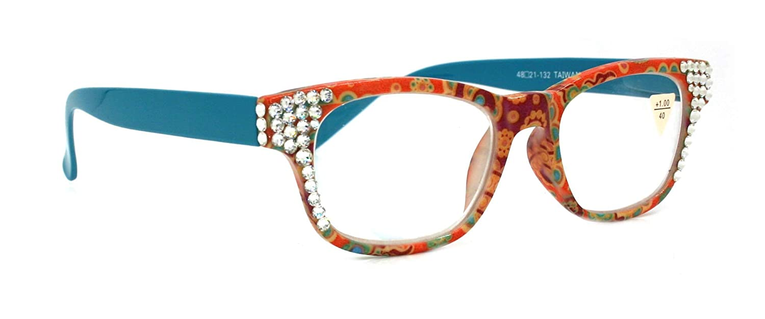 The Persia Square, Reading Glasses Adorned With Clear SWAROVSKI Crystals +1.25 +1.50 +1.75 +2.00 +2.25 +2.50 +2.75 +3.00 TEAL FLORAL