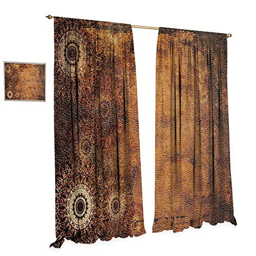 - cobeDecor Tan Window Curtain Fabric Aged Old Texture Print Artistic Floral Motifs Vintage Upholstery Concept Drapes for Living Room W108 x L108 Brown Pale Brown Tan