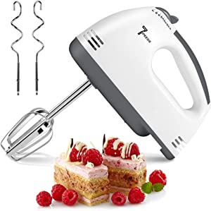 Electric Hand Mixer, 7 Speed Handheld Mixer Food Beater, Kitchen Blender Egg Whisk with Egg Sticks & Dough Sticks for Whipping Dough, Cream & Cake