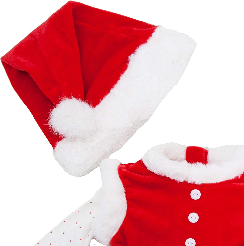 Completo Bambina neonata Tutina Vestitino Babbo Natale Cappellino Nuovo FK826 Toocool