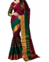 Macube Women's Bhagalpuri Silk Solid Saree with Blouse Piece - MS311_25_Maroon and Green_Free Size