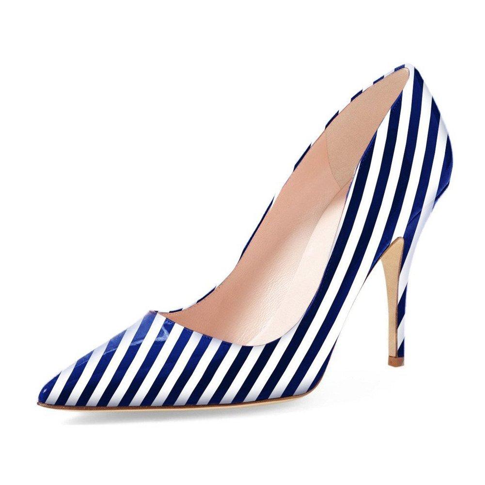 UMEXI Pointed Stilettos Toe High Heels Slip On Fashion Pumps Party Stilettos Pointed for Women B0778K5VPH 8|Blue Zebra a8434e