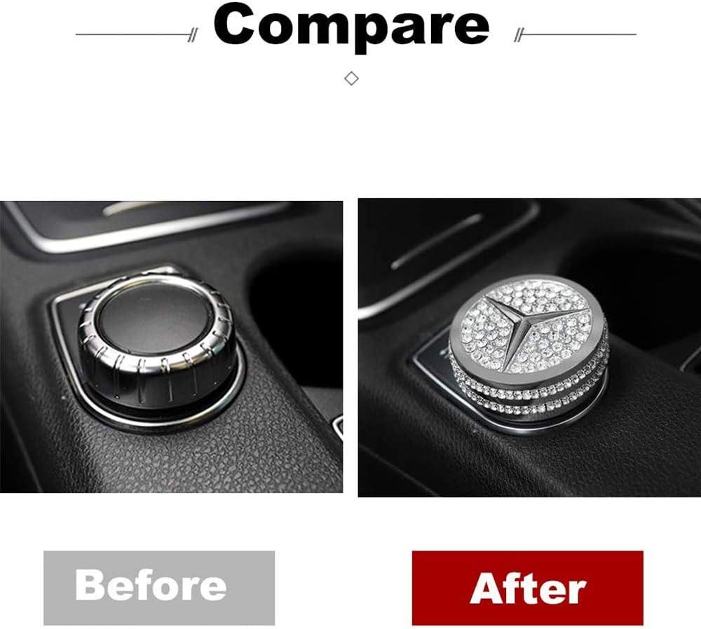 L/&U Zentrale Steuerung Multimedia-Knopf-Knopf-Diamant dekorativ Sticker Car Styling f/ür Mercedes Benz C-Klasse E-Ebene GLA CLA GLK ML GLE Modifikation,Gold
