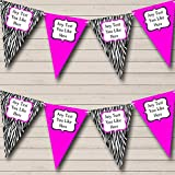 pink and zebra party streamers - Zebra Print Hot Pink Personalized Hen Do Night Party Bunting Banner Garland