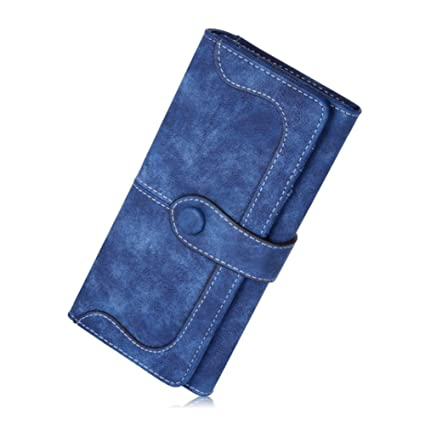 MANGO KING Monedero de mujer de ante largo cuero de gamuza de mujer (azul)