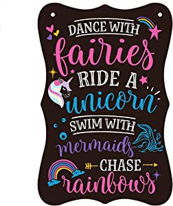 PETCEE Unicorn Wall Hanging Sign for Girls Room Decor 9.8