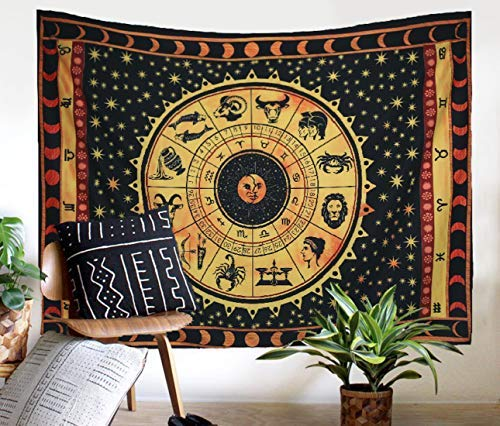 Zeronal Black Zodiac Sign Celestial Tapestry Wall Decor, Astrological Sun Moon Tapestry Wall Hanging, Horoscope Psychedelic Tapestries Wall Art ()