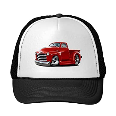 0c7867157a29b Amazon.com  Funny 1950-52 Chevy Red Truck Trucker Hat  Clothing