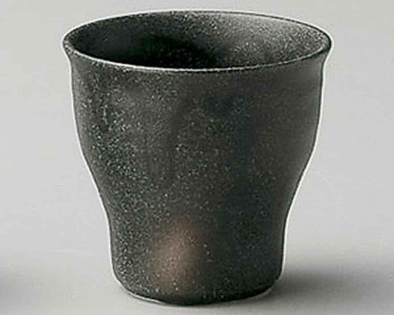 Bizen 2.6inch Set of 5 Sake Cups Black porcelain Made in Japan watou.asia