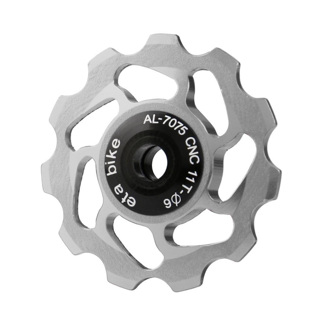 11T MTB Bicicleta Cerámico Cojinete, Vovotrade Jockey Rueda Polea La carretera Bicicleta Posterior Desviador apoyo 7/8/9/10 Velocidad (Plata): Amazon.es: ...