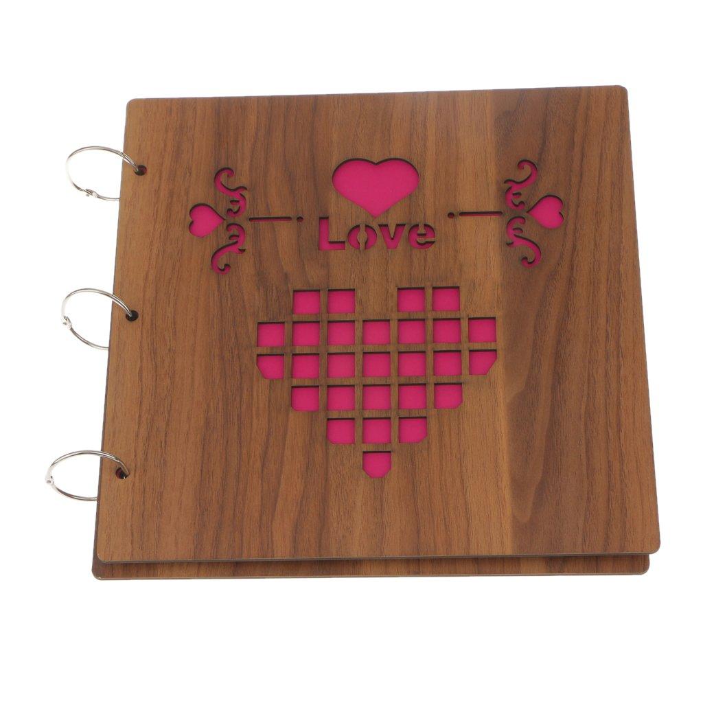 MagiDeal 29x29cm Wooden Sculpture Print Children Diy Photo Album Record Scrapbooking - Love wall, 290x290x25mm