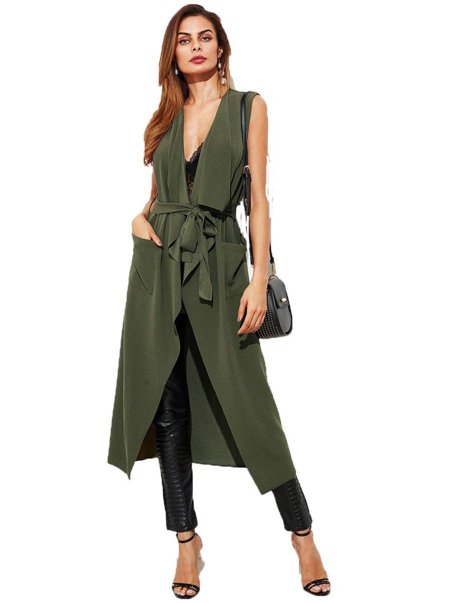 WDIRA Women's Shawl Collar Vest Belted Elegant Sleeveless Patch Pocket Detail Long Waterfall Coat Green S