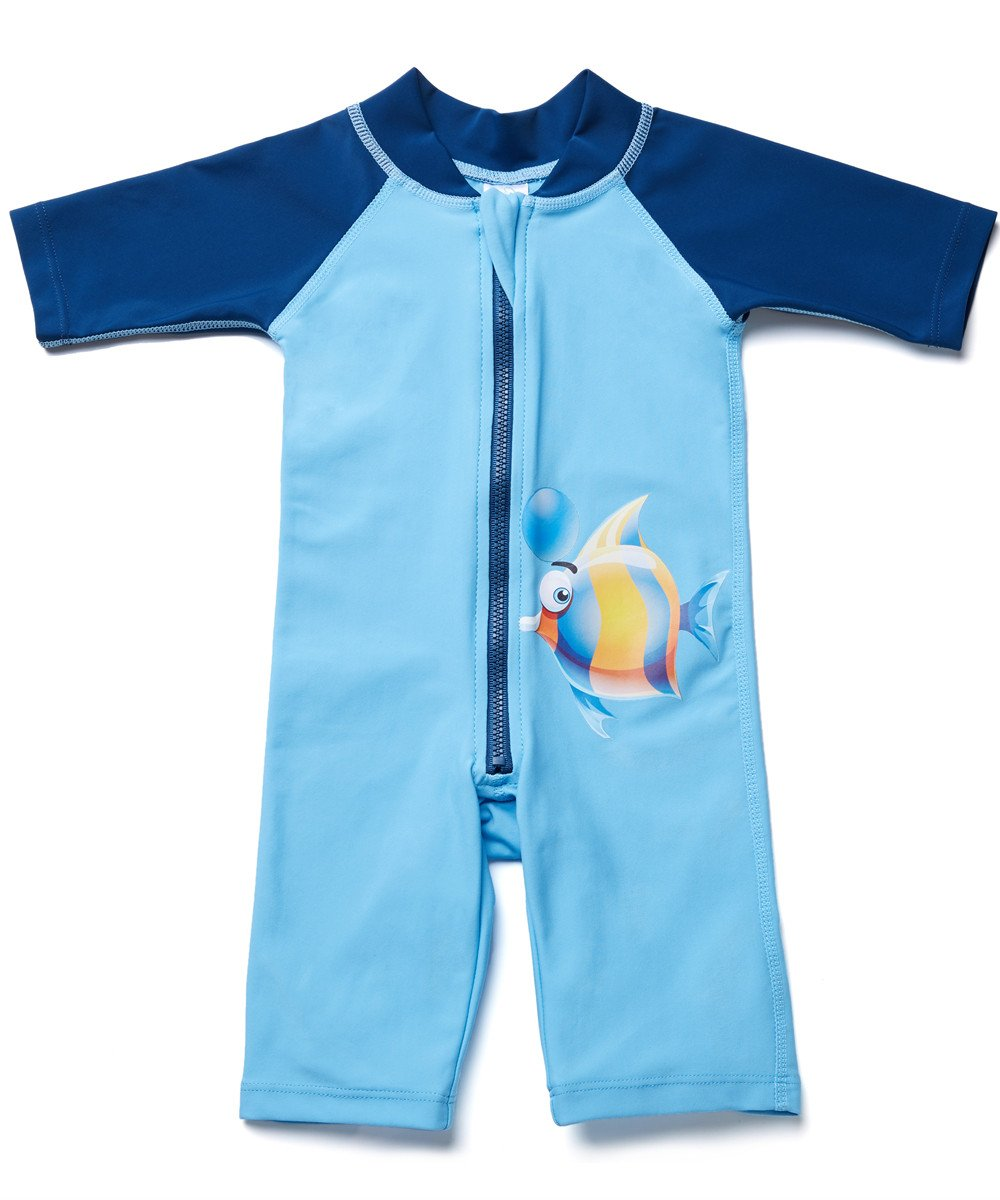 ATTRACO Children's Cute One Piece Swimsuit Sunshirt For Girls Blue 24m