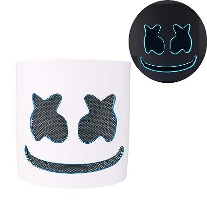 MarshMello DJ Mask Full Head Helmet Party Bar Music Props LED Cosplay Hats