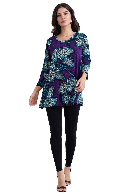 Jostar Womens Stretchy Round Nk Band Tunic Top Quarter Sleeve Print