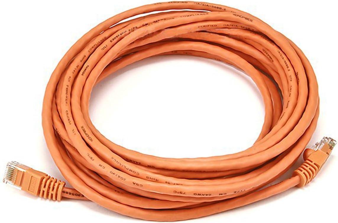 Orange Monoprice 20FT Cat5e 350MHz UTP Ethernet Network Cable