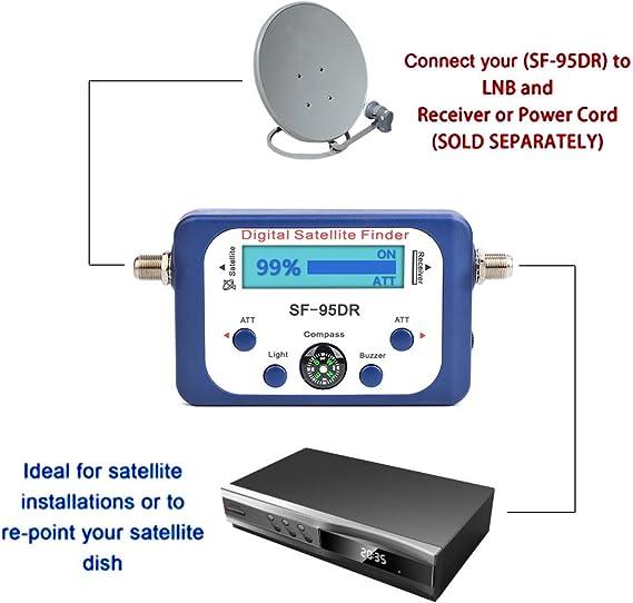 ATPWONZ Localizador de señal de satélites Digital para orientar la parabólica TVHD Medidor Digital Pantalla LCD