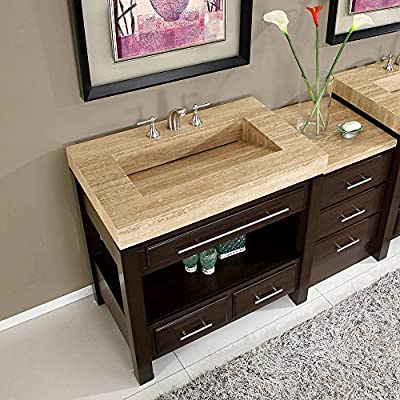 Silkroad Exclusive Stone Top Single Sink Bathroom Vanity with Modern Furniture Cabinet, 56-Inch
