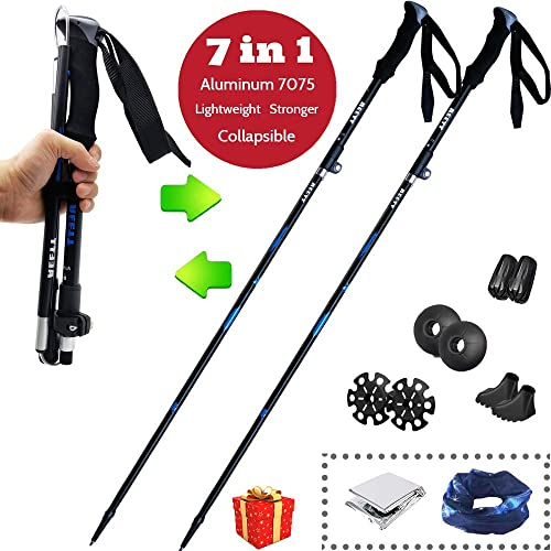 AEETT Trekking Poles Collapsible Lightweight Hiking Poles – Trekking Sticks – Walking Sticks – Hiking Gear for Women Men