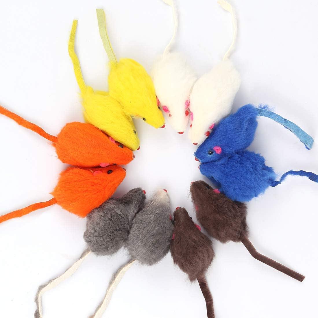 Bluelves Juguetes para Gato, 12 Piezas Gato Juguete Interactivo, Raton Juguete Gato, Catnip Juguetes con Campanas Catnip para Gatos, Peluche Ratones Multicolor