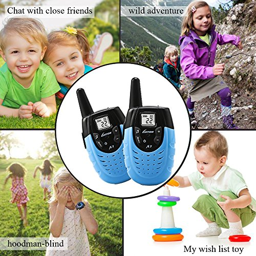 Kids Walkie Talkies, Rechargeable Two-way Radio Long Range Walky Talky Portable, Cool Outdoor Electronic Toys Gifts For Children, Blue (Pair)