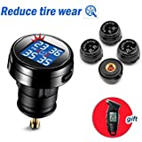 STEELMATE® DIY Wireless Real-time Monitoring TPMS With Large Clear LED Cigarette Lighter Plug Display, 4 External Sensors Digital Tire Pressure Guage ( 20-50 Psi )
