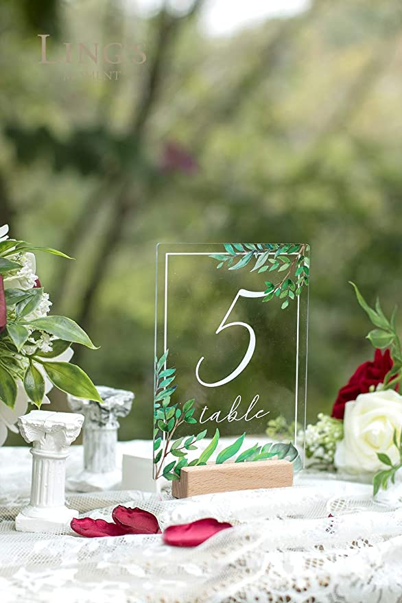Centerpiece Decoration Perfect for Christmas Party and Dinners 4x6 inch Printed Calligraphy Clear Table Number Signs and holders Reception UNIQOOO Acrylic Wedding Table Numbers with Stands 1-20
