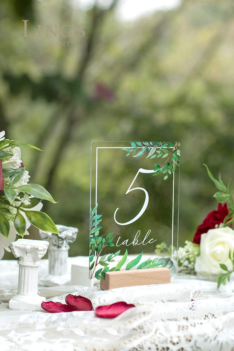 Ling's moment Acrylic Greenery Wedding Table Numbers 1-20 with Natural Wood Stands Calligraphy Design Freestanding 4x6 Table Numbers for Seating