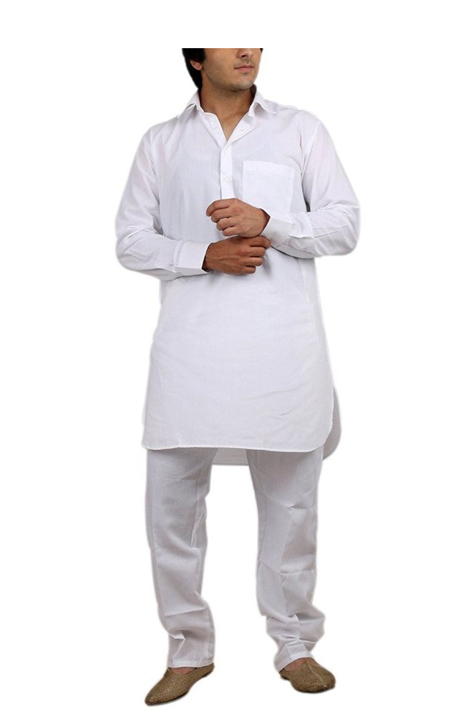Royal Kurta Big Boy's Cotton Blended Fine Pathani Kurta Pyjama 40 White by Royal Kurta (Image #1)