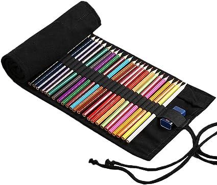 YONKINY Estuche Enrollable Lona Gran Capacidad Moda Bolsa de Lápices Dibujo Pintar Estuche Escolar Arte Para Estudiantes Niños Adultos (#1, 36 Ranuras): Amazon.es: Oficina y papelería
