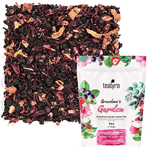- Tealyra - Grandma's Garden Berry - Fruit Tea Blend - Hibiscus and Berries Based Herbal Loose Leaf Tea - Vitamines Rich - Caffeine-Free - Hot and Iced Tea - 110g (4-ounce)