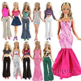 Barwa 15 items For Barbie Random Style 5 Sets Fashion Casual Wear Clothes/outfit with 10 Pair Shoes for Barbie Doll Xmas Gift