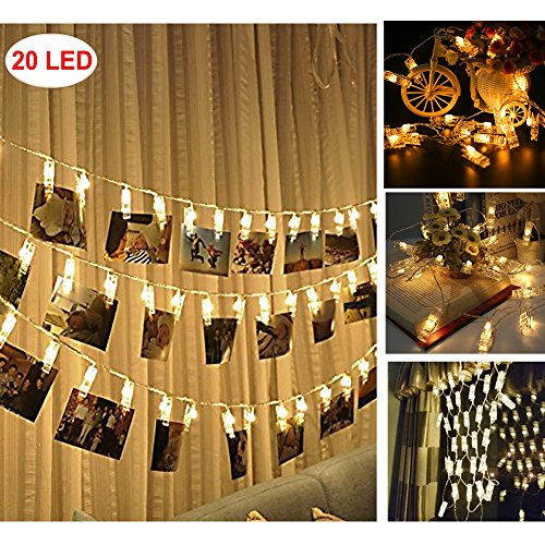 HiSayee Dec Waterproof LED String 20 Clips Battery Powered Fairy Twinkle Wedding Party Christmas Home Decor Lights for Hanging Photos, Cards and Artwork (Ideas Card Christmas Photos Cute For)