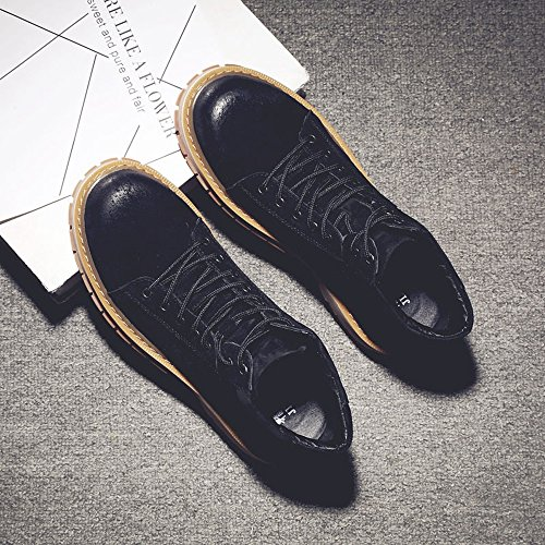Best Choise Herrenschuhe Schnürschuhe aus echtem Leder High Top Martin Stiefeletten für Herren Draussen ( Color : Gray , Size : 41 EU ) Black