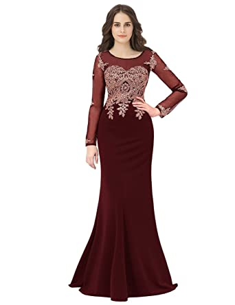 396a56c59 anmor Women's Embroidery Long Sleeve Prom Evening Dresses Mermiad Fromal  Wedding Gowns for Bridal 2019 Burgundy