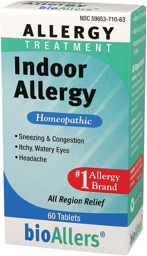 bioAllers Indoor Allergy Homeopathic Treatment for Sneezing & Congestion, Itchy Eyes & Headache Relief | 60 Tablets : Allergy Medications : Grocery & Gourmet Food