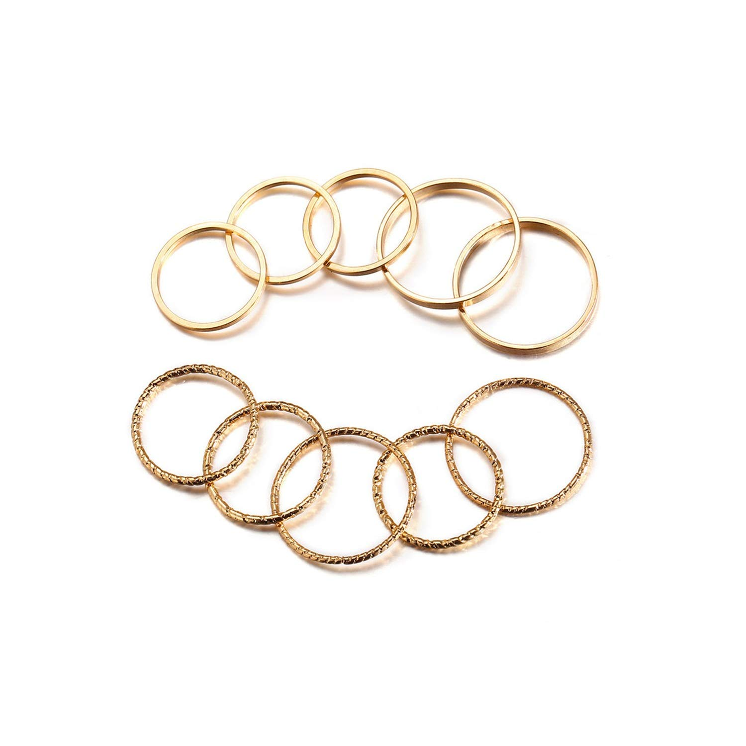 pretty-gentle52654 Vintage Gold Color Knuckle Rings Set for Women Geometric Round Twist Weave Finger Ring