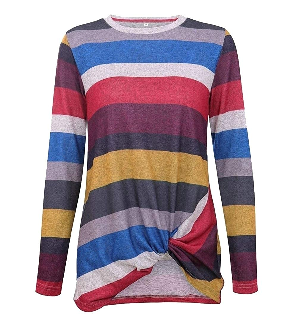 YIhujiuben Womens Long-Sleeve Stripe Irregular Hem Loose Fit Blouse Top T-Shirt