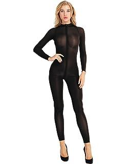 9724d6345401 Freebily Women Sexy Crotchless Lingerie Bodystocking Long Sleeve Double  Zipper Sheer…