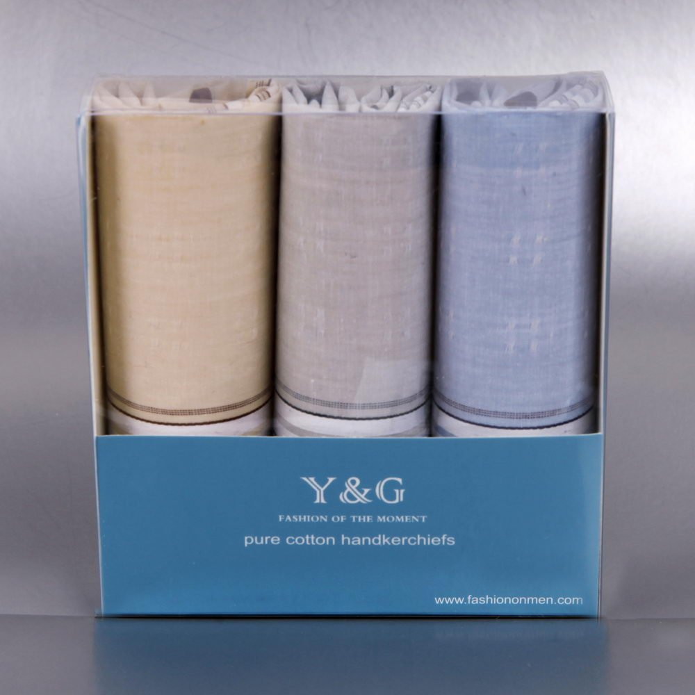 YEA0202 Solid 3 Of Set With Free Box Y&G Mens Cotton Handkerchiefs - Light Sky Blue,Gainsboro,Papaya Whip by Y&G (Image #2)