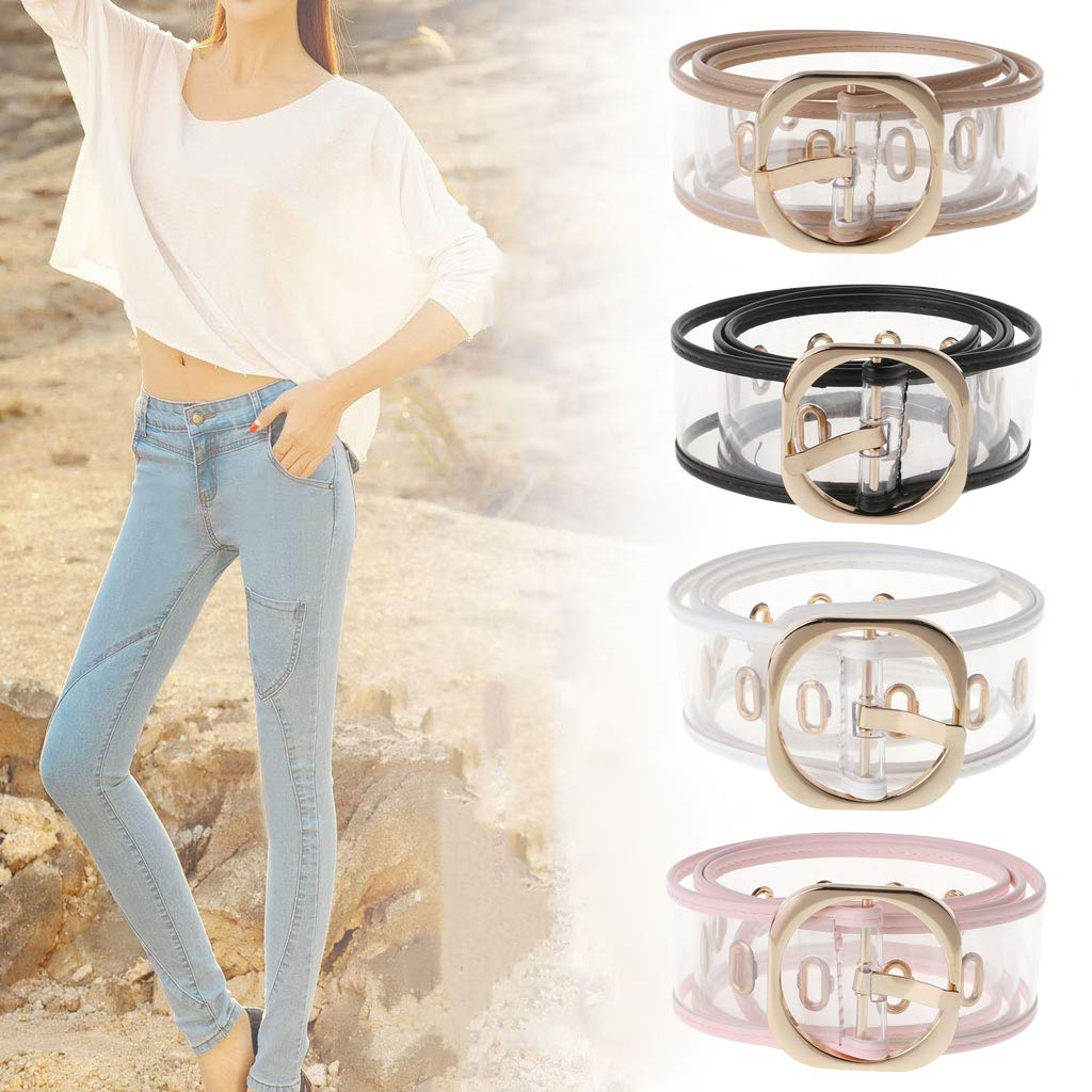 Simdoc Clear Womens Belts For Jeans,Transparent Resin Waist Belt With Metal Buckle,Wide Color-Trimmed Patent Clear Belt