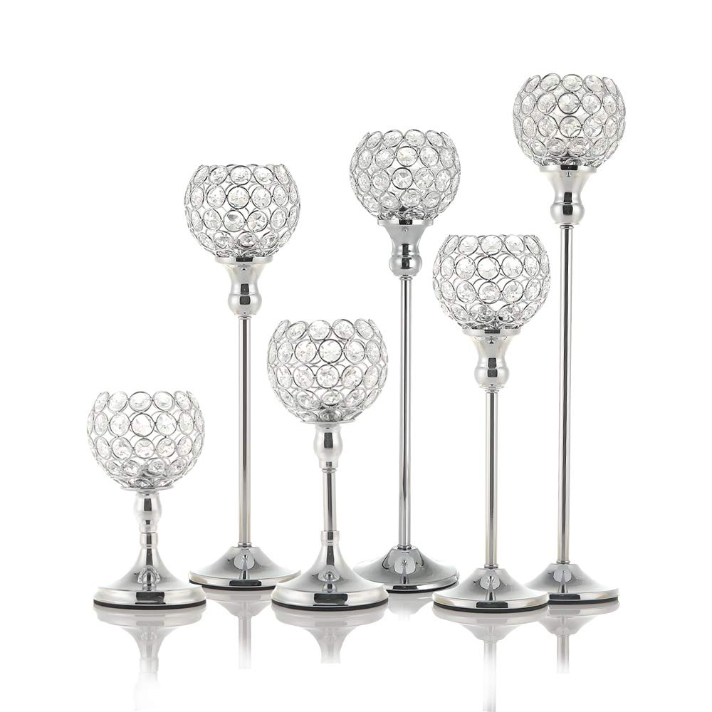 Roza Candle Holders - Crystal Candle Tealight Holders Metal Coffee Dining Table Centerpieces Candlesticks Stand Christmas Halloween Home Decoration 6 PCs