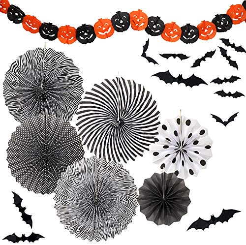 Yunison Halloween 6pc Paper Fan Decorations Kit DIY Ceiling Hanging Paper Fans, Smile Pumpkin Party Banner, 24pc 3D Bat Wall Stickers Window Decor -