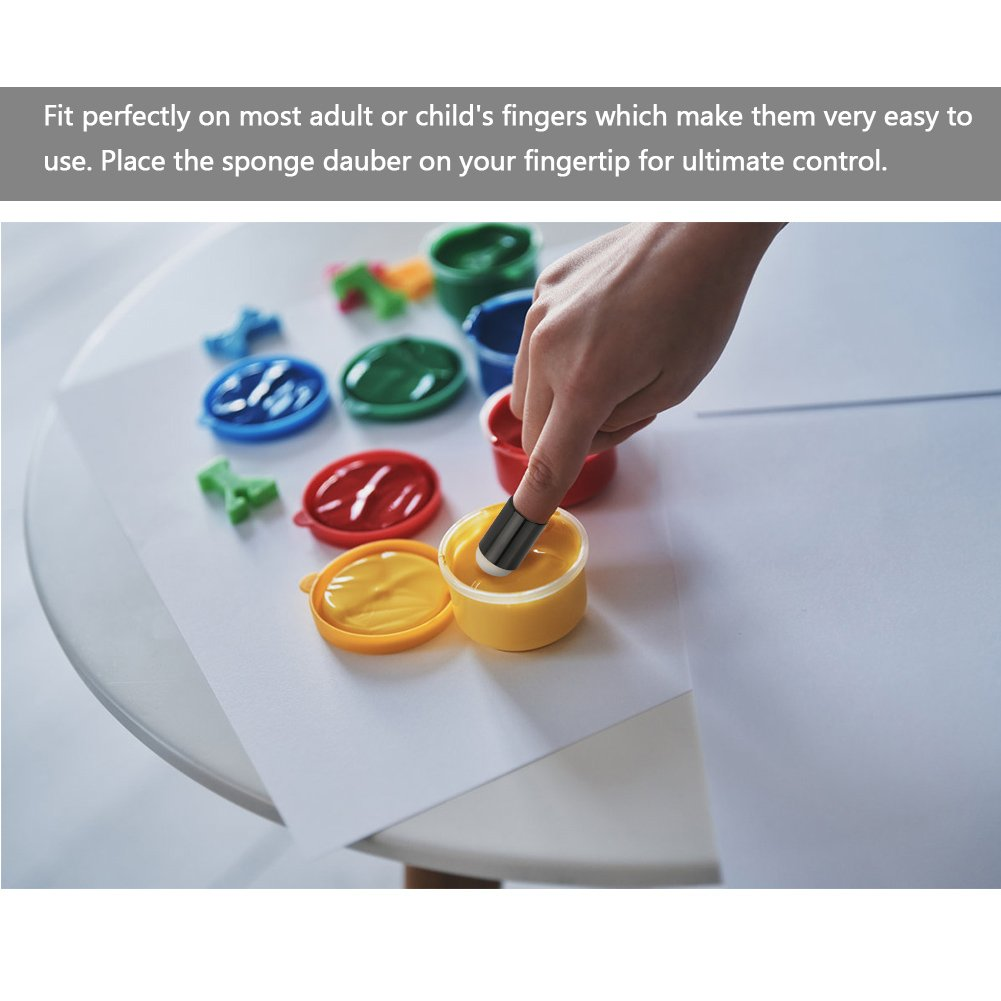 Card Making Sponge Ink Drawing Finger Sponge Daubers Set 40pcs Craft Sponge Daubers with Storage Box for Painting