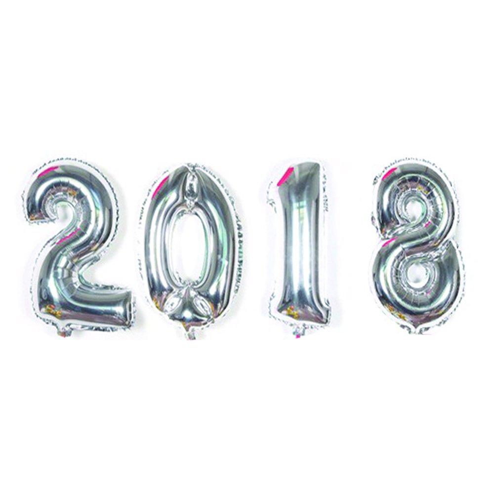 Neo Loons 2018バルーンセット、40インチ2018シルバー箔バルーン、2018新しいYear Eve卒業式デコレーションパーティー用品   B078HD5LLN