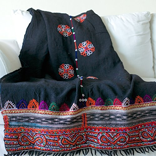 Chobari, Vintage Hand Embroidered Rabari/ Kutch Woollen Throw 85X36 Inches by kinche