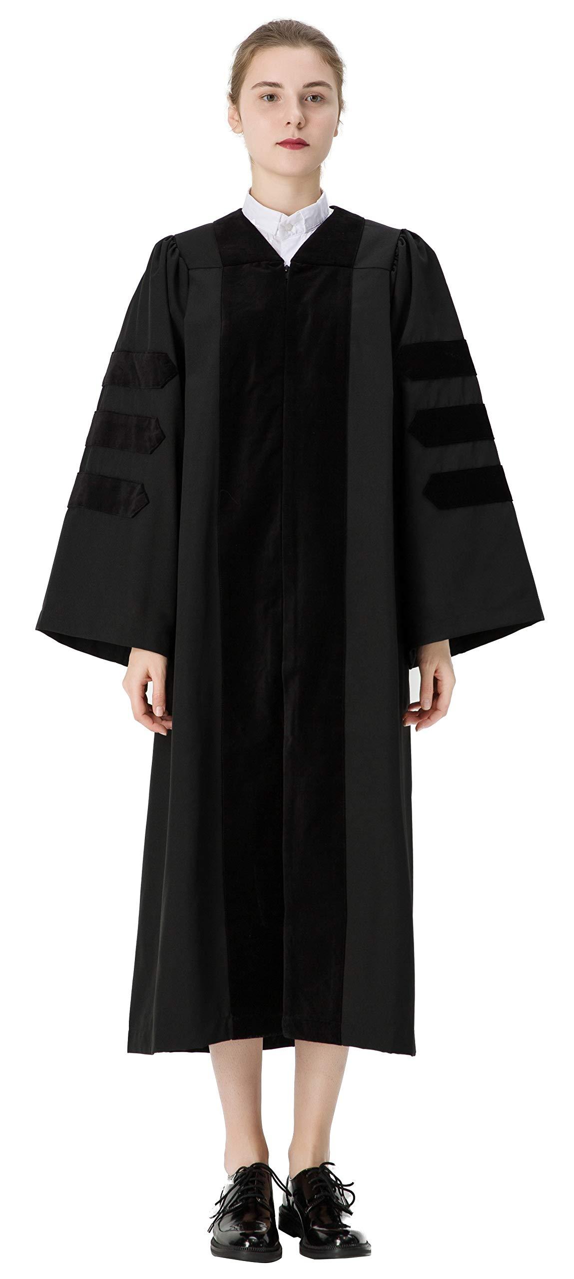 GraduationMall Classic Doctoral Graduation Gown With Black Velvet Trim 54(5'9''-5'11'')
