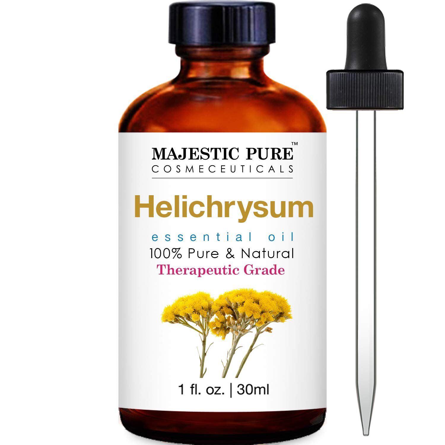 MAJESTIC PURE Helichrysum Oil, Highest Quality Therapeutic Grade Essential Oil, 1 fl oz
