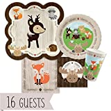 woodland animals party supplies - Big Dot of Happiness Woodland Creatures - Baby Shower or Birthday Party Tableware Plates, Cups, Napkins - Bundle for 16