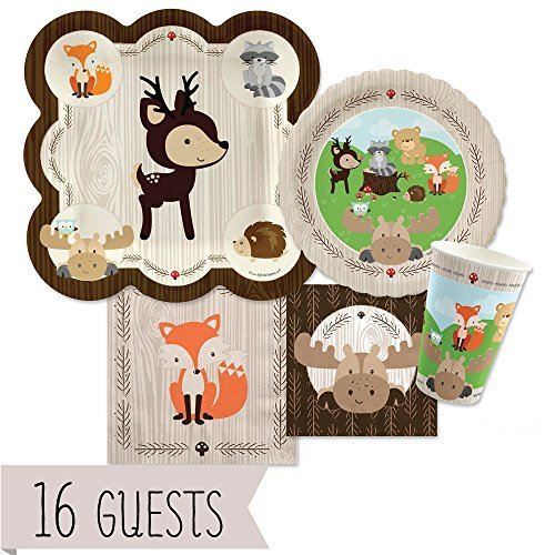 Woodland Creatures - Baby Shower or Birthday Party Tableware Plates, Cups, Napkins - Bundle for 16 (Baby Shower Decorations Animals)
